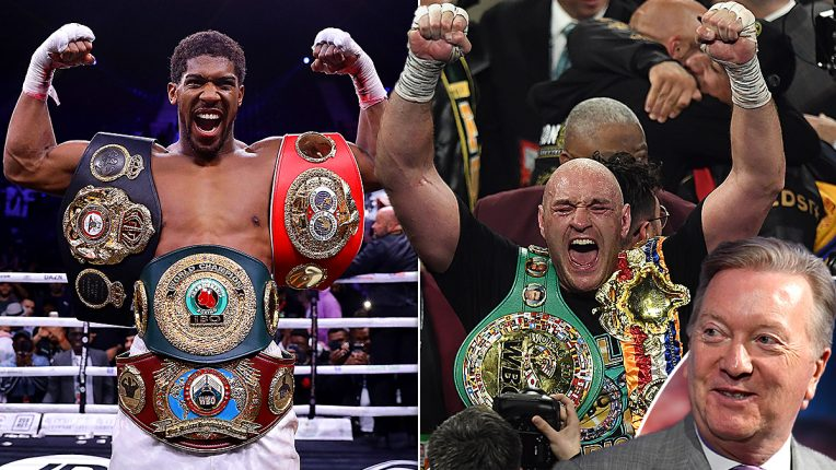 Anthony Joshua and Tyson Fury posing with their world titles with Frank Warren as an inset