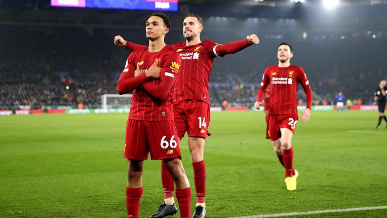 Trent Alexander Arnold celebrates against Leicester