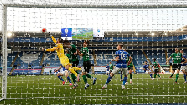 Brighton's Mat Ryan punches the ball clear during their game against Leicester last night
