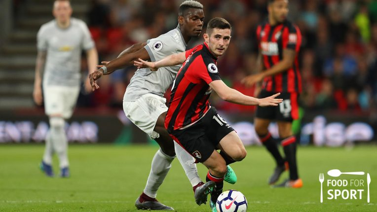 Lewis Cook tackling Paul Pogba