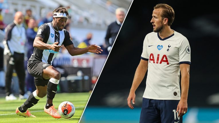 Allan Saint Maximin and Harry Kane in a split image