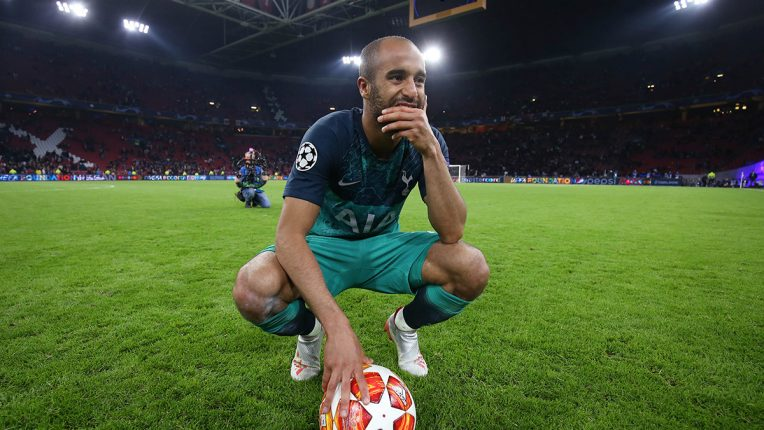 Lucas Moura with the match ball after Tottenham beat Ajax in the Champions League semi-final