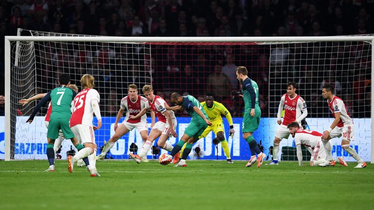 Lucas Moura shoots on goal for Tottenham against Ajax in the Champions League semi final