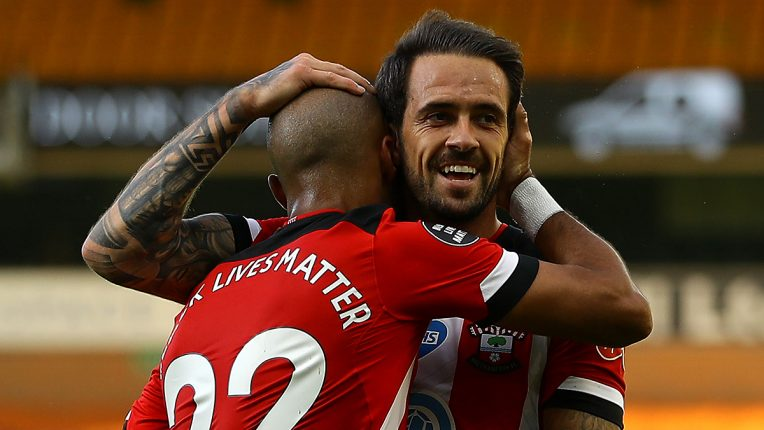 Danny Ings and Nathan Redmond celebrate during Southampton's 3-0 win at Norwich
