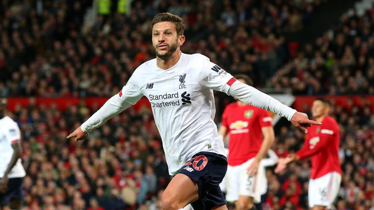 Adam Lallana celebrates scoring against Man Utd