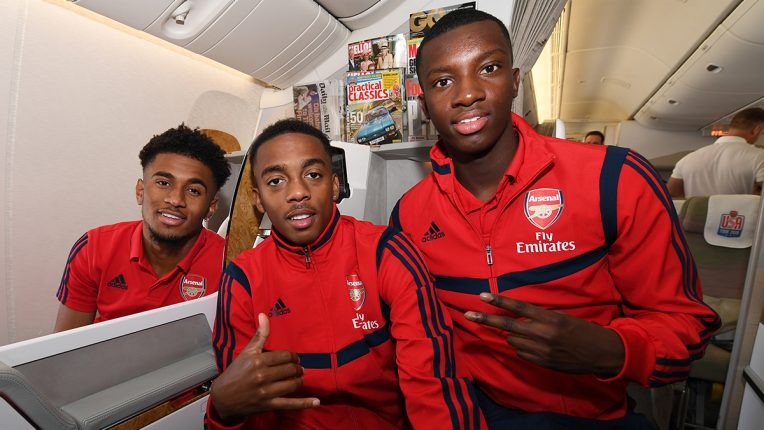 Nketiah with two of the team-mates he'd lockdown with - Reiss Nelson and Joe Willock