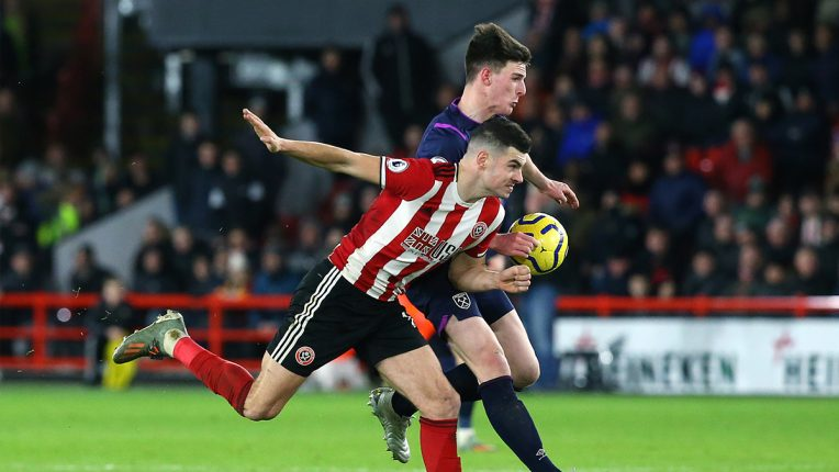Declan Rice of West Ham was penalised for a handball in the build-up to his side's equaliser at Bramall Lane last season.
