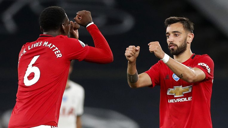 Paul Pogba and Bruno Fernandes took the field together for the first time