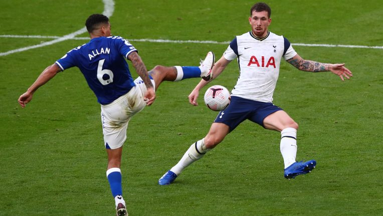 Hojbjerg competes for the ball with Everton's Allan at the Tottenham Hotspur Stadium