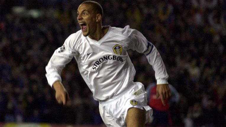 Ferdinand celebrates putting Leeds 3-0 up against Deportivo in the Champions League in April 2001