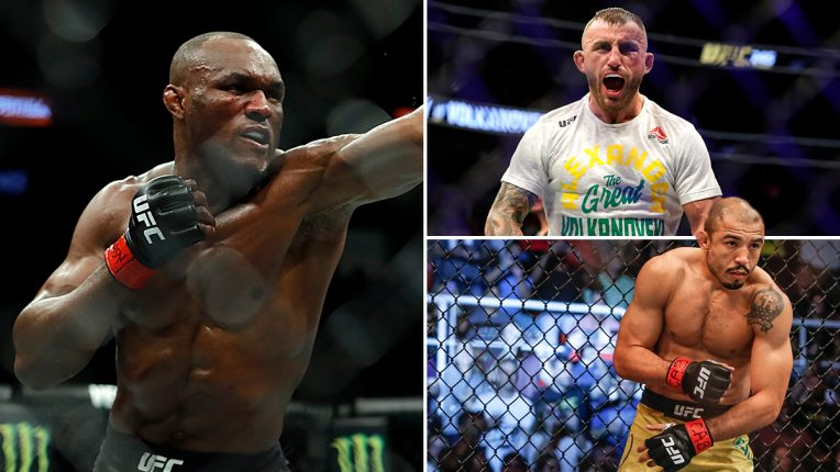 Kamaru Usman, Jose Aldo and Alexander Volkanovski in a three-way picture split