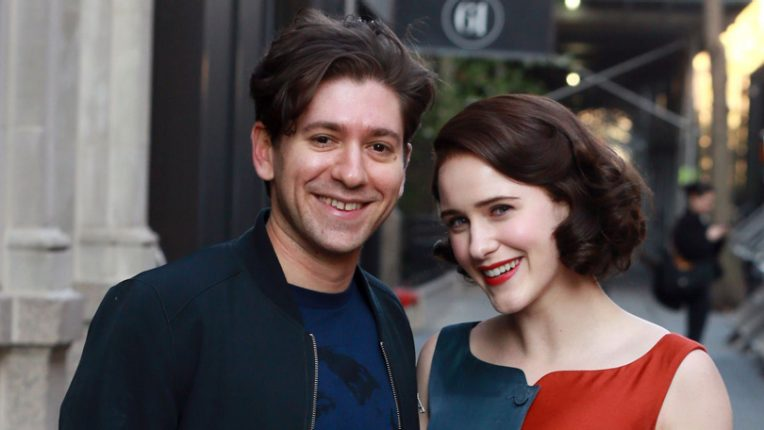 Michael Zegen and Rachel Brosnahan on set of The Marvelous Mrs Maisel