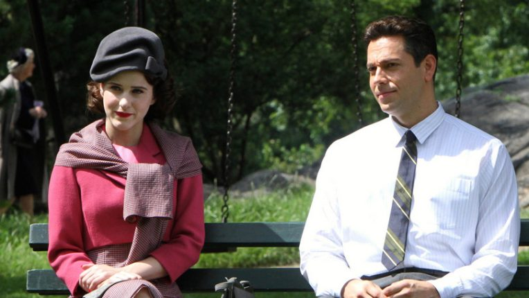 Rachel Brosnahan and Benjamin Levy filming The Marvelous Mrs Maisel