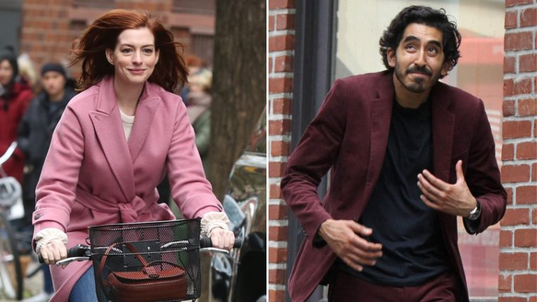Anne Hathaway and Dev Patel on set of Modern Love