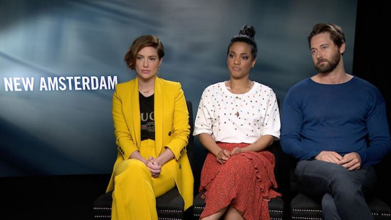 Janet Montgomery, Freema Agyeman and Ryan Eggold being interviewed about New Amsterdam