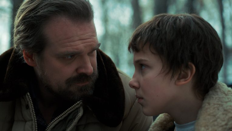 David Harbour as Jim Hopper with Millie Bobby Brown as Eleven in Stranger Things