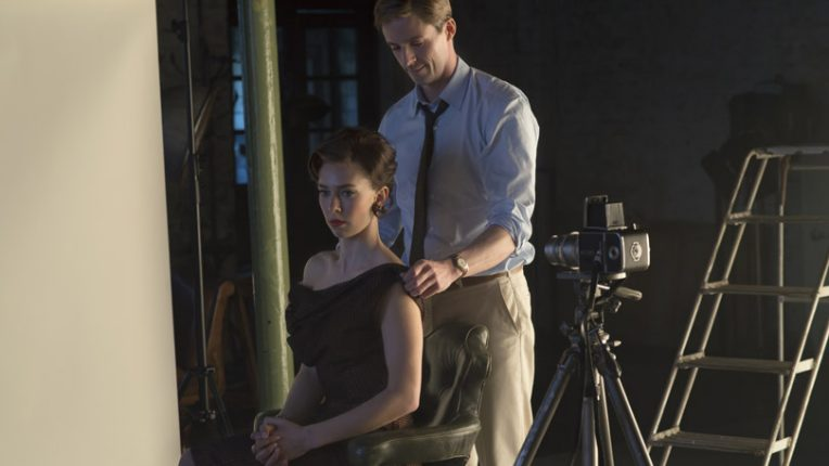 Vanessa Kirby and Matthew Goode during a scene in The Crown in which they play Princess Margaret and Antony Armstrong Jones