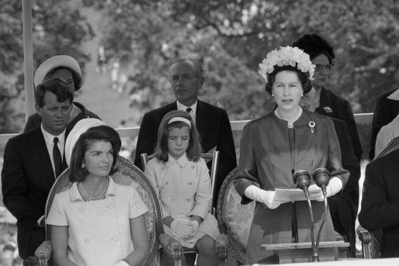Jackie Kennedy with Queen Elizabeth II during a memorial service for her husband, John F Kennedy