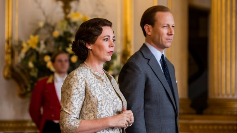 Olivia Colman as Queen Elizabeth II and Tobias Menzies as Prince Philip in The Crown