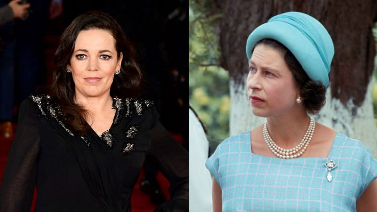 Olivia Colman and Queen Elizabeth II