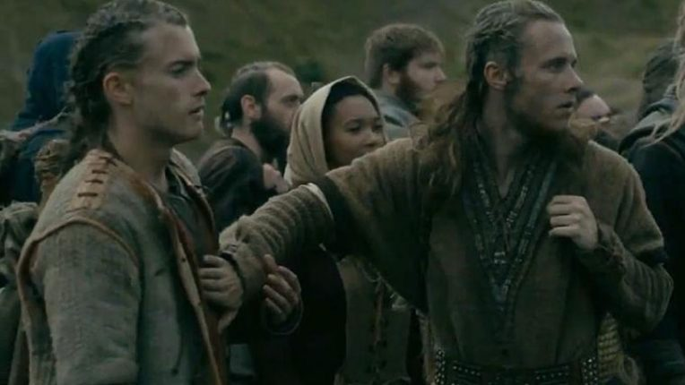 Elijah as Asbjorn and Jack as Helgi the Lean in Vikings on History