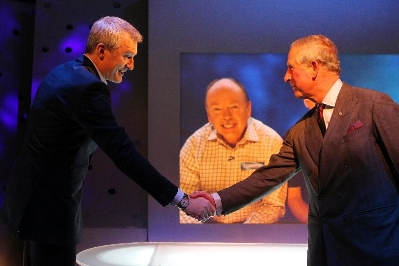 Prince Charles meets Jeremy Vine on the Eggheads set