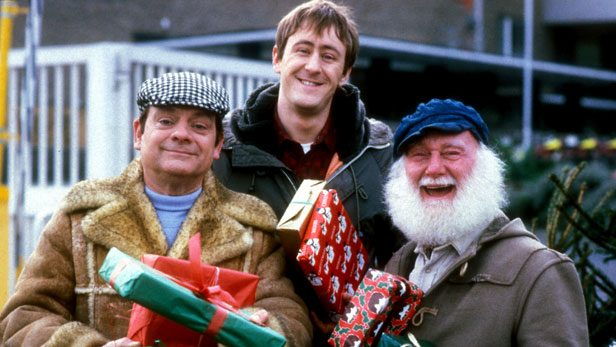 David Jason as Derek Trotter, Nicholas Lyndhurst as Rodney Trotter and Buster Merryfield as Uncle Albert in Only Fools and Horses