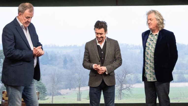 Jeremy Clarkson, Richard Hammond and James May on the set of The Grand Tour