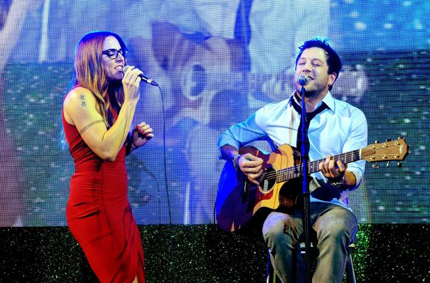 X Factor winner Matt Cardle performing with Mel C