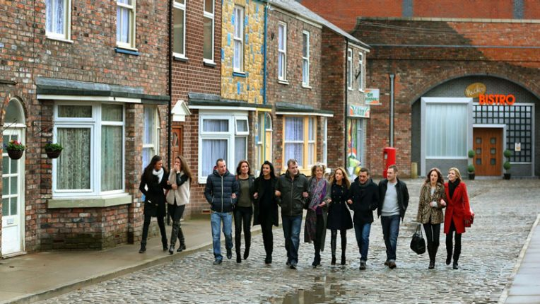 Coronation Street cast walk down the cobbles