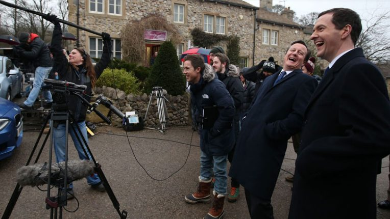 David Cameron on the set of ITV soap Emmerdale