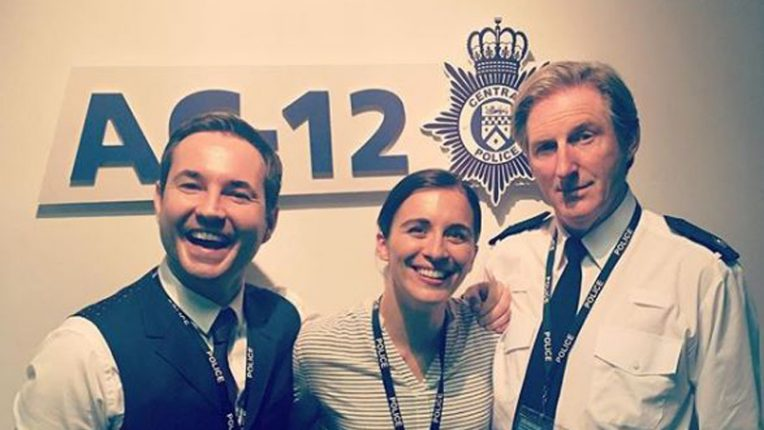 Martin Compston, Vicky McClure and Adrian Dunbar on the set of Line of Duty