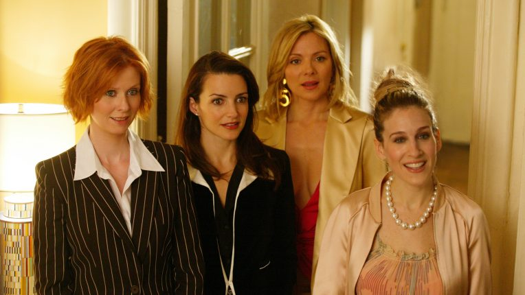 Sarah Jessica Parker as Carrie Bradshaw, Kim Cattrall as Samantha Jones, Kristin Davis as Charlotte York and Cynthia Nixon as Miranda Hobbes