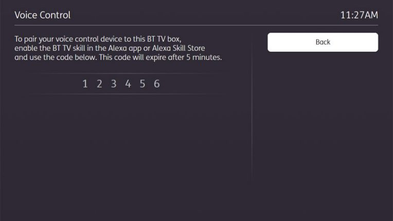 BT TV pairing code for Alexa