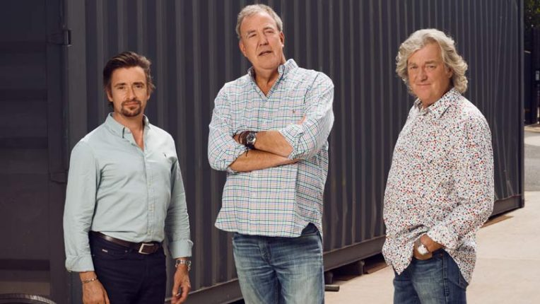 Richard Hammond, Jeremy Clarkson and James May pose for The Grand Tour