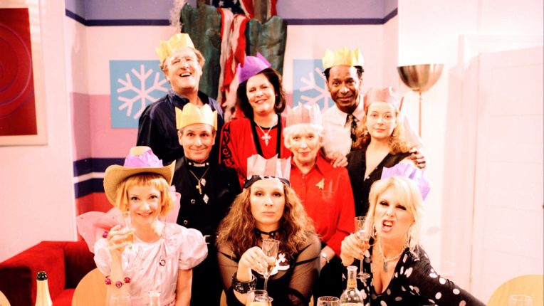 The cast of the Absolutely Fabulous 2004 Christmas special
