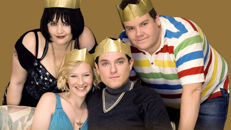 James Corden, Mat Horne, Joana Page and Ruth Jones pose for the Gavin and Stacey 2008 Christmas special