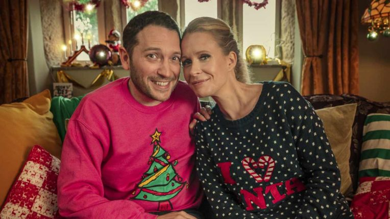 Jon Richardson and Lucy Beamont in Christmas jumpers
