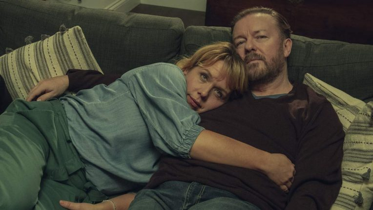 Ricky Gervais and Kerry Godliman share a loving moment in a flashback in After Life season two