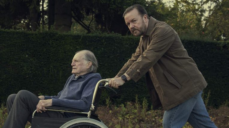 Ricky Gervais pushes his dad, played by David Bradley, in After Life series 2