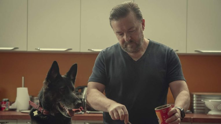 Ricky Gervais on the set of After Life series 2 with Anti the dog