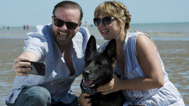 Ricky Gervais, Kerry Godliman and dog in After Life