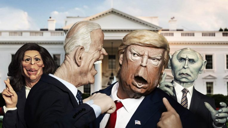 Joe Biden and Donald Trump puppets fight in Spitting Image