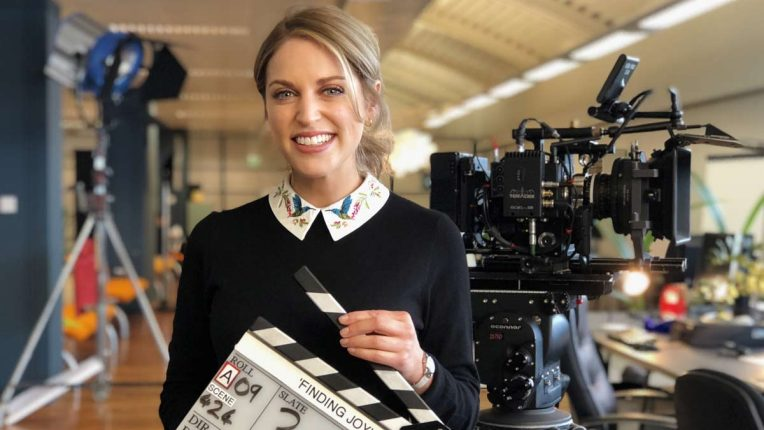 Amy Huberman behind the scenes filming Finding Joy