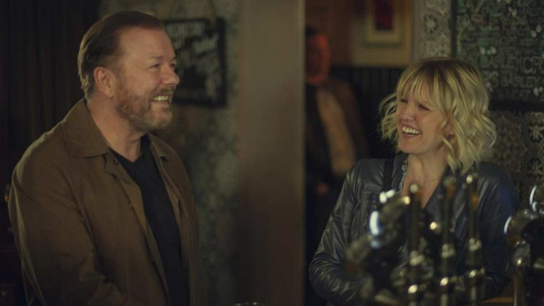 After Life season two - First look - Ricky Gervais and Ashley Jenson in the pub