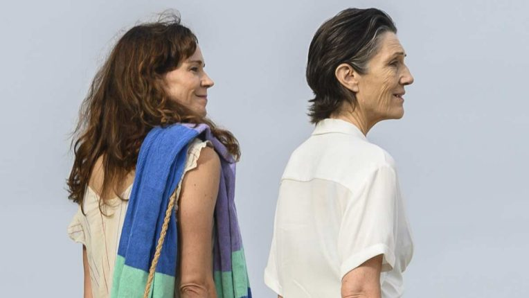 Frances O'Connor and Harriet Walter look out to the sea in The End
