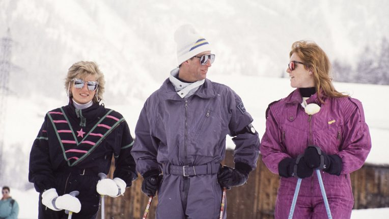 Prince Charles, Princess Diana and the Duchess of York in Klosters the day before the tragedy