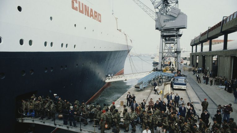 Troops boarding the QE2 at Portsmouth in 1982