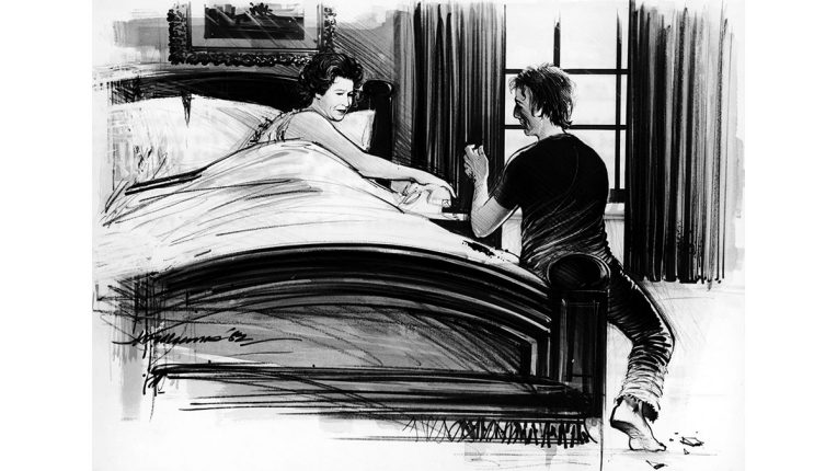 Sketch of Michael Fagan in the Queen's bedroom