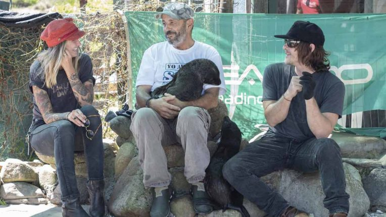 Norman Reedus meets some animal friends while filming Ride with Norman Reedus season 4